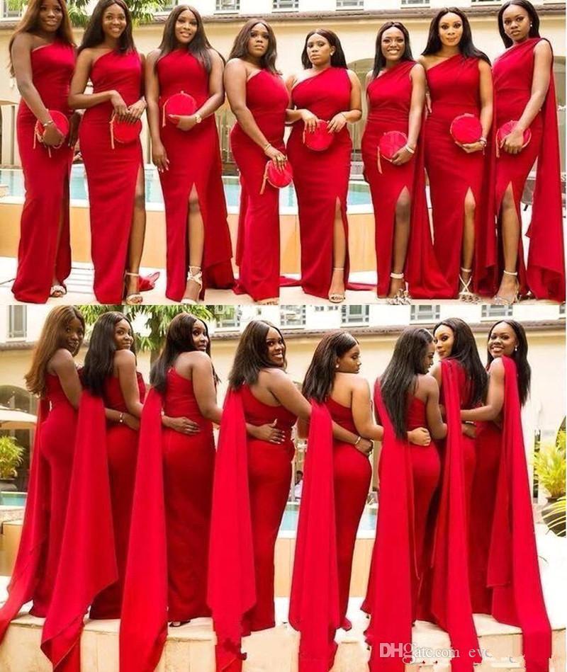 Onur Elbise Of 2020 yeni Kırmızı Saten Mermaid Gelinlik Modelleri Uzun Ön Bölünmüş Afrika Hizmetçi Örgün Parti Wedding Guest Elbise