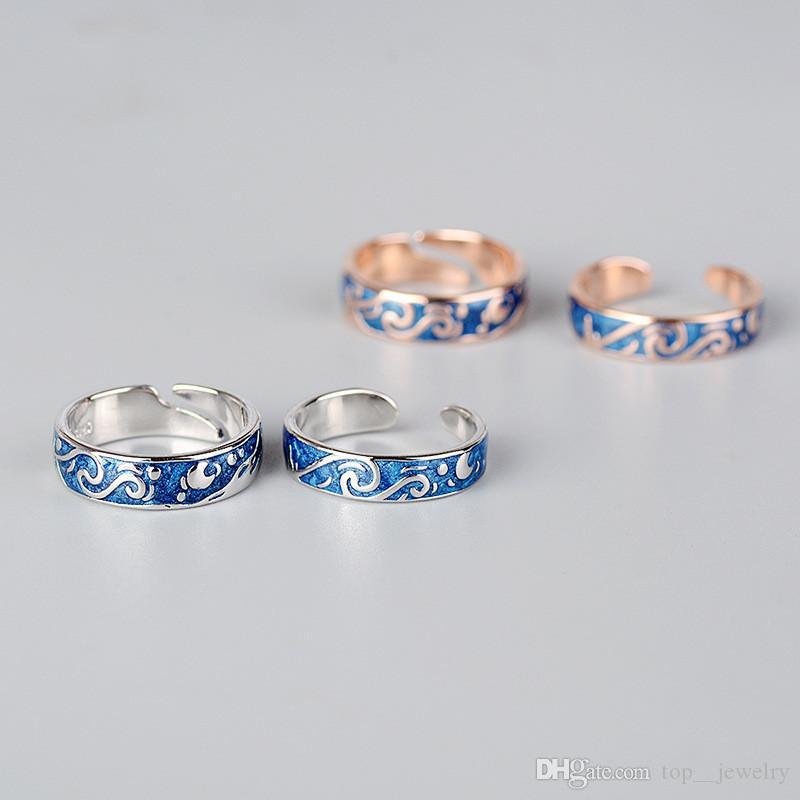 Joyas Anillos de pareja S925 plata esterlina anillo de pareja noche estrellada anillos abiertos famosos paiting regalos especiales
