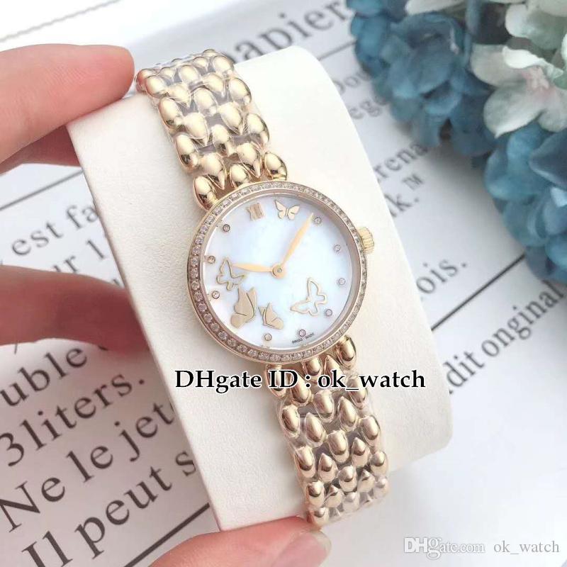 NEW 28mm 424.55.27.60.55.005 Women's Swiss Quartz watch diamond bezel PVD gold steel bracelet High quality sapphire ladies watches