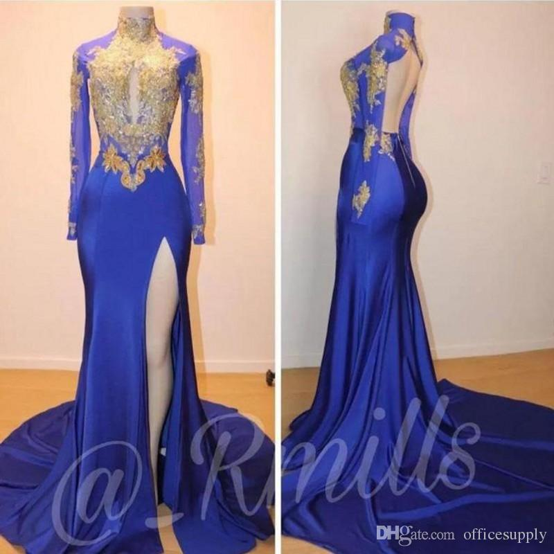 Vintage 2019 Royal Blue Mermaid Prom Party Kleider Gold Spitze Applique Sexy Lange Sleeevs Hoch Split Backless Abend Formale Cocktailkleider