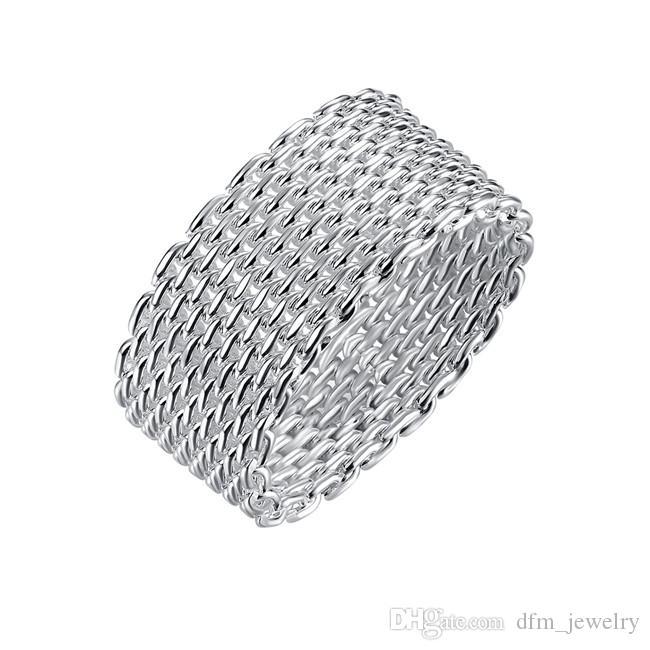 Epacket DHL позолоченный стерлингового серебра чистое кольцо DHSR38 США размер 6,7,8,9,10 ; бесплатная доставка женская 925 серебряная пластина группа кольца ювелирные изделия