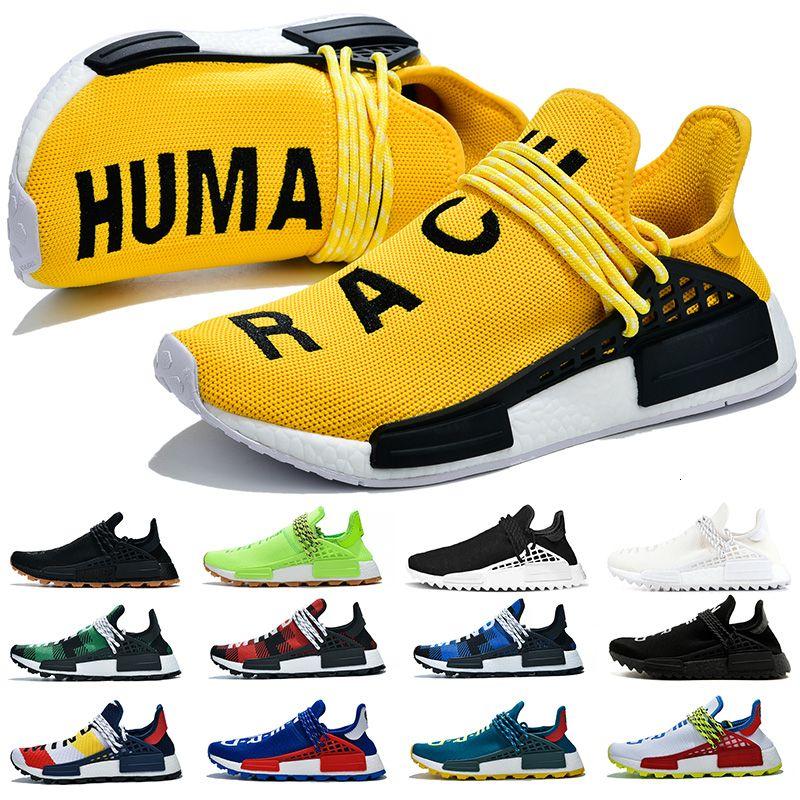 NMD Human Race Uomo Donna Scarpe da corsa Pharrell Williams Runner Giallo Nerd Nero Passione Designer Sneakers Mens istruttori sportivi Size 36-47