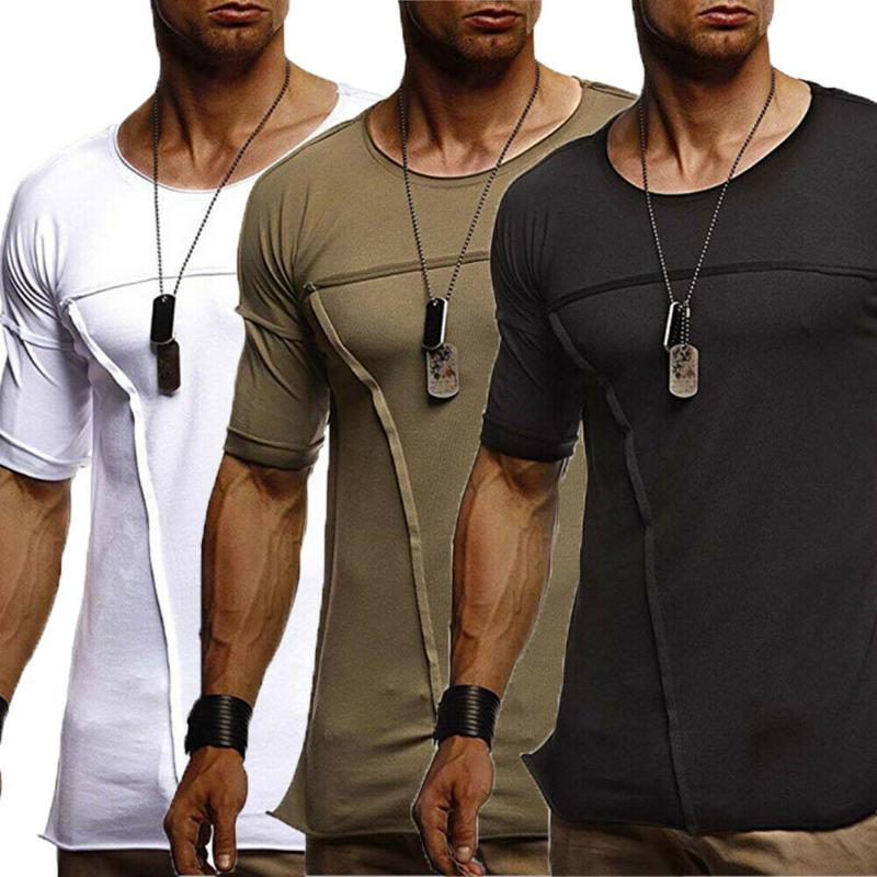 Slim Fit O manches courtes Muscle Tee shirts Casual Tops M-XXXL solides hommes