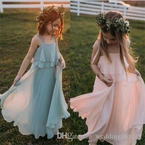 2019 Sommar Bohemian Style Flower Girl Dresses Spaghetti Straps Färgade Chiffon Långa Formella Kids Kakor För Bröllopsfest