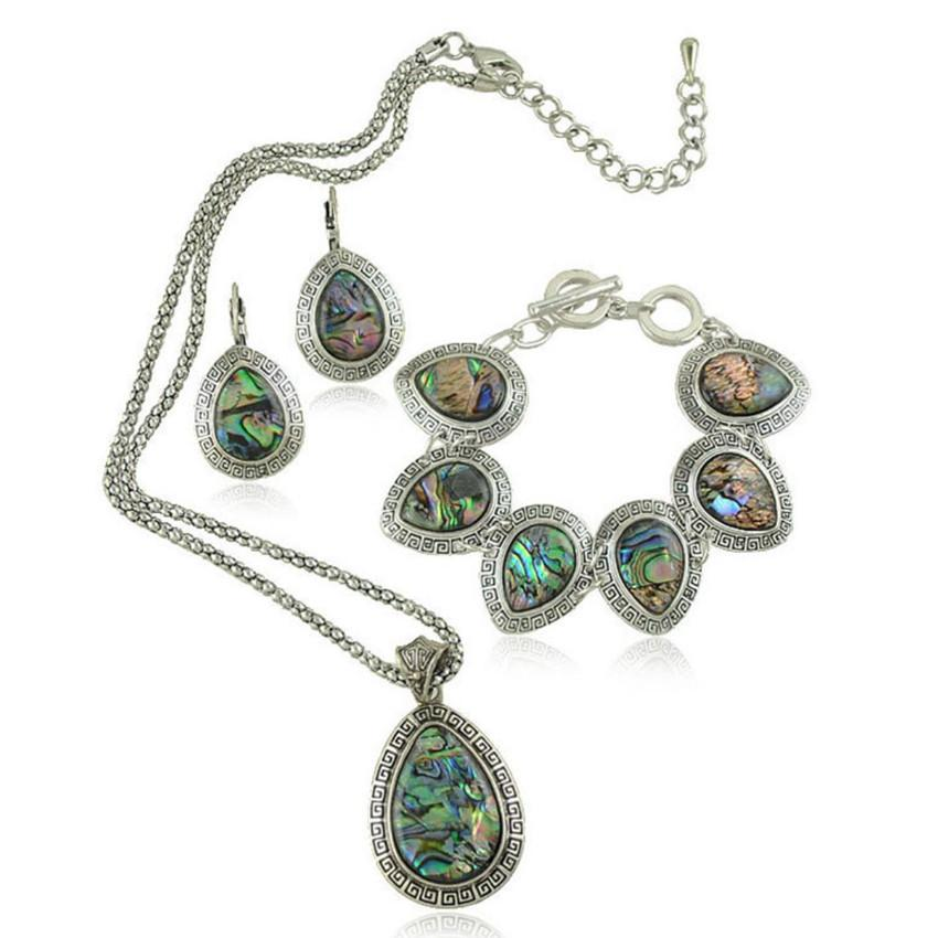 Wholesale 5 Set Silver Plated Water Drop Abalone Shell Necklace Earrings Finger Bracelet for Women Jewelry Sets