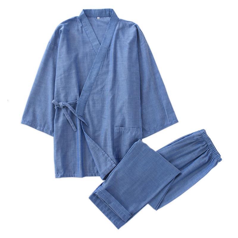 Hot sale 100% cotton kimono men robe pajamas sets simple short sleeve japanese Robe trousers for male hombre pyjamas RobesMX190904
