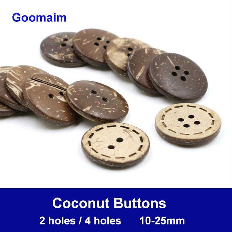 1000 peças / lote 10 milímetros cor natural 4 furos de coco botões de textura natural, desgaste botões decorativos para ofícios de costura botões decorativos DIY