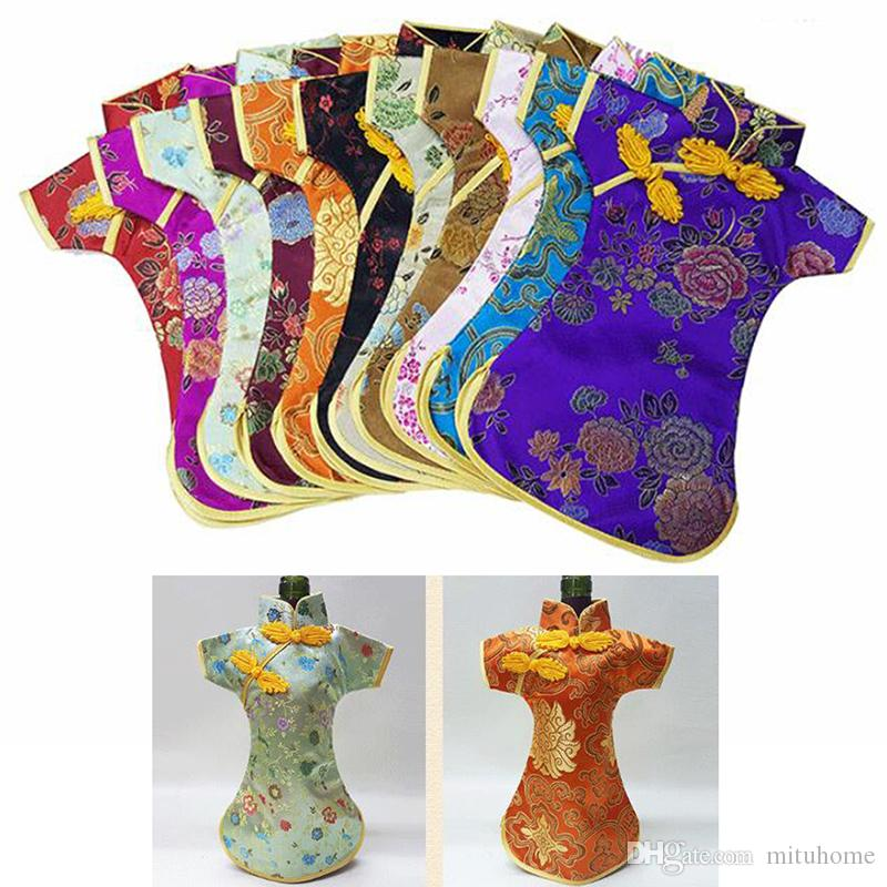 50pcs 50PCS Luxury Cheongsam Wine Bottle Bag Cover Bottle Packaging Gift Bags Chinese Silk brocade Table Decoration Wine Clothes