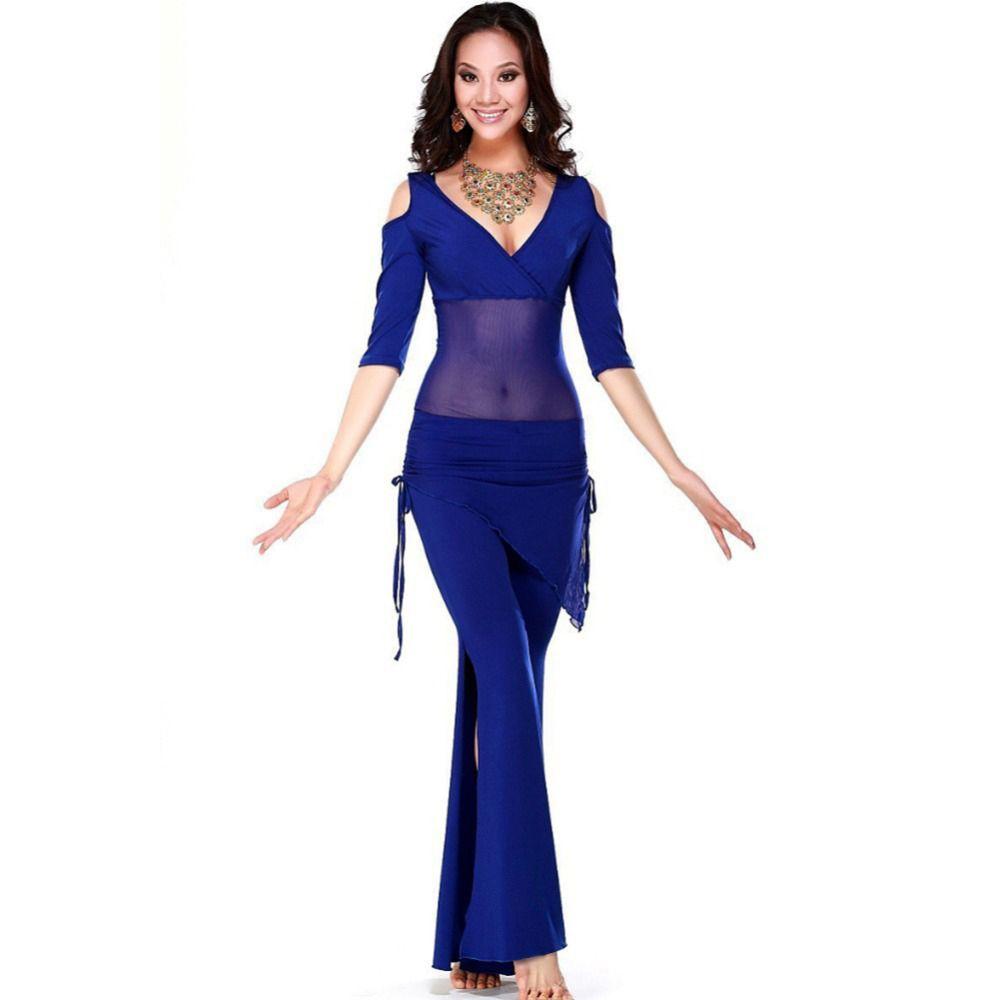Распродажа !!! 2019 Новые костюмы для танца живота из шёлкового сетчатого рукава MeshMilk для женщин / TopPants (с модным шарфом)