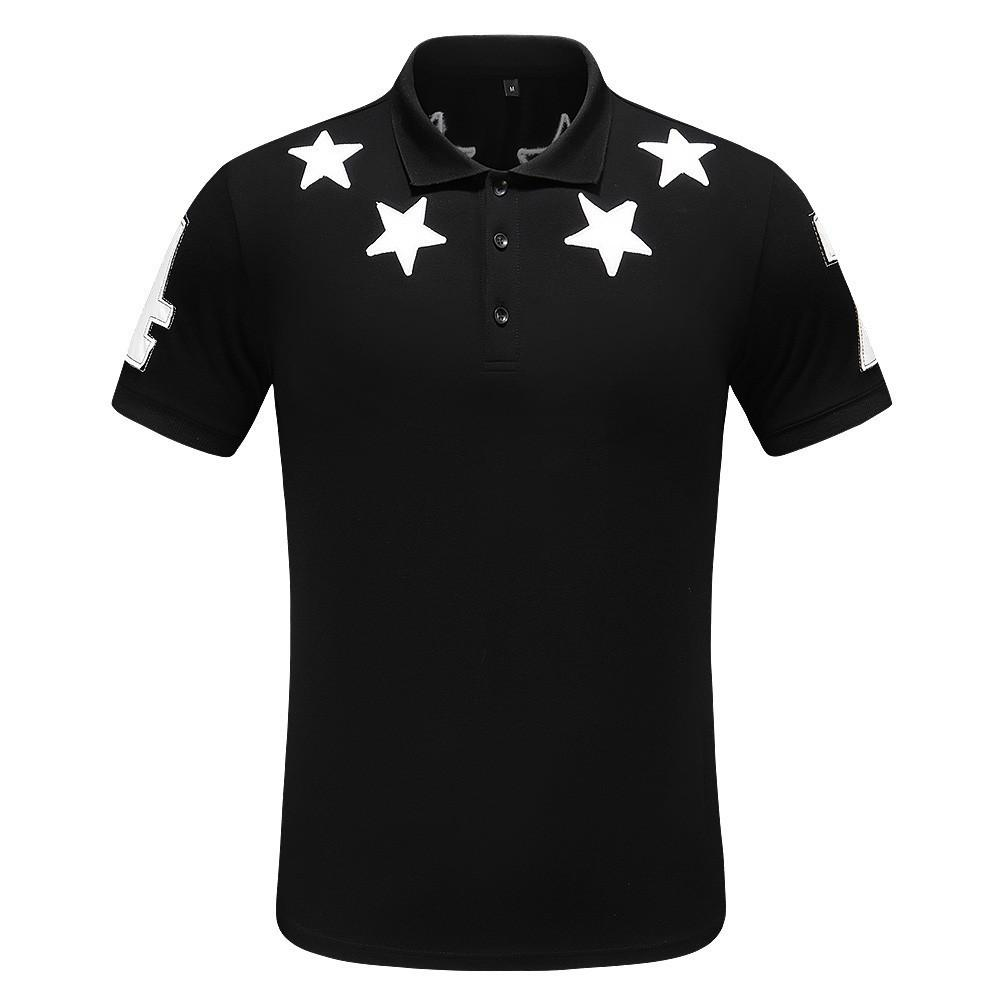 T-shirt dos homens novos de lapela peito de novidade couro estrela decalques moda sentido corpo inteiro idade do corpo superior
