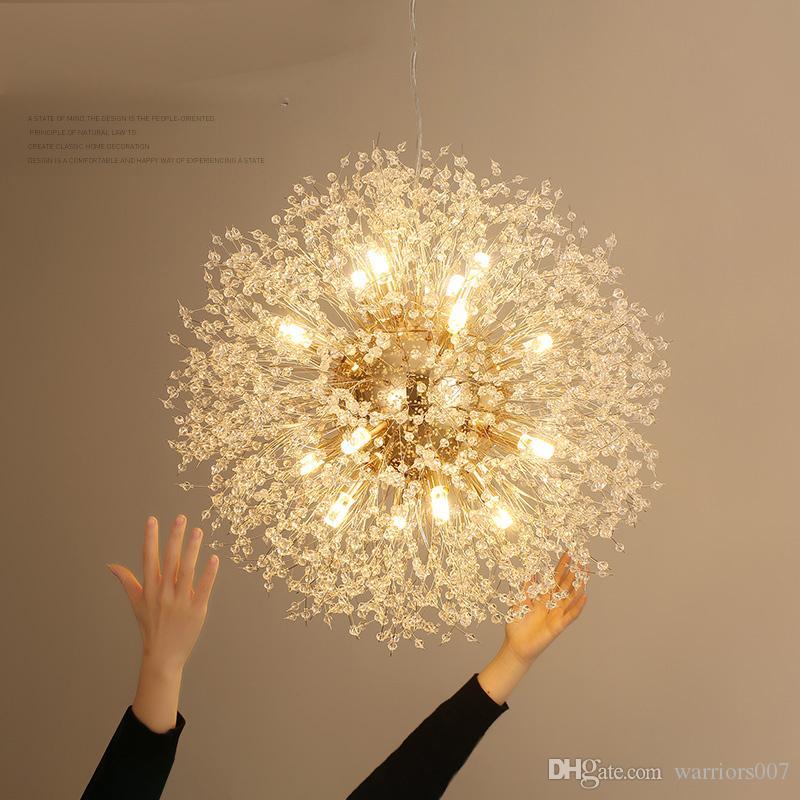 سبارك الكرة LED إضاءة الثريا الثريا الهندباء طعام غرفة المعيشة بار شخصية الفن الإبداعي كريستال مصابيح