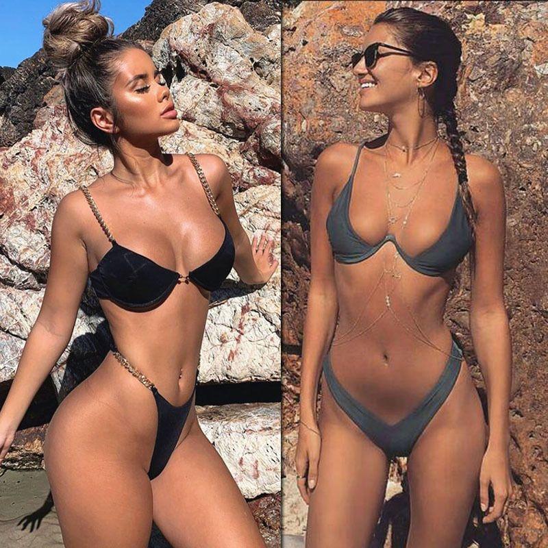 2020 Nuevo corte alto tanga traje de baño traje de baño de alta cintura mujeres del traje de baño sólidos brasileña Biquini playa micro bikini conjunto T200328