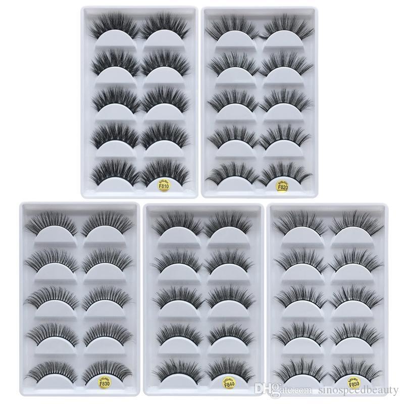 3D-Nerz-Haar-falsche Wimpern 5 Paar Schwarz Stereo Make-up Wimpern weich und lange Vergrößerungs Augen Kosmetik Augen Make-up-Tool Z0202