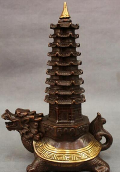 "Antik bronz Saf Bakır Pirinç 9 ""Bronz dourado pagode Stupa Shou longevidade tartaruga"