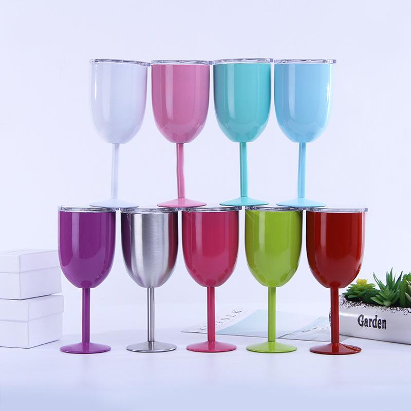 زجاج الأكثر مبيعا 10oz سعرنا النبيذ الفولاذ المقاوم للصدأ جدار مزدوج معزول النبيذ كؤوس كؤوس النبيذ مع غطاء