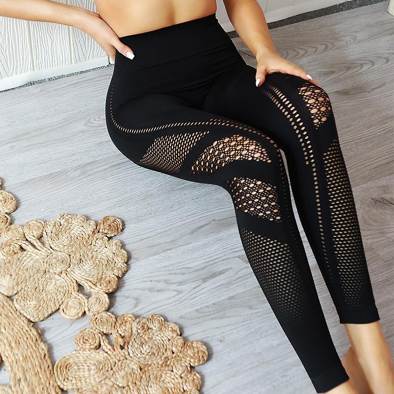 Tricot sans couture Qiaotun Porous Absorption d'humidité transpirez Yoga Pants Mouvement culturisme costume sexy Afficher la hanche Hit Underpant