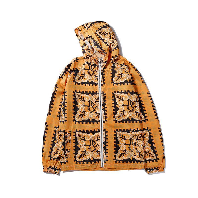Nuovo arrivo Mens Womens giacche geometriche stampati con cappuccio del rivestimento per gli uomini casuale delle donne Zipper Windbreaker superiore Giallo Blu B104537V