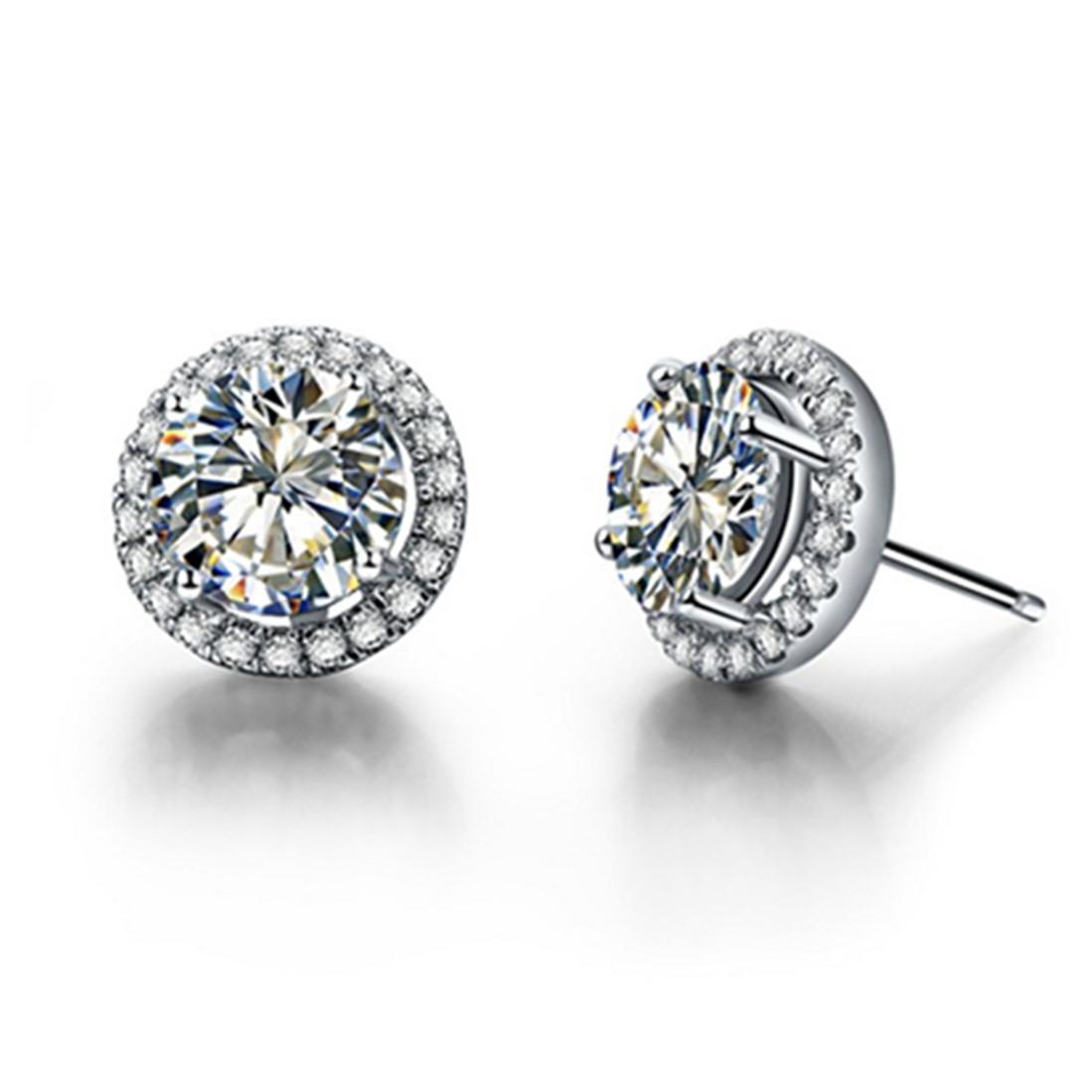 ممتاز هالو NSCD الاصطناعية أقراط الماس عشيق النساء المشاركة مجوهرات أقراط فضة في 18K الذهب الأبيض مطلي PT950 مختوم
