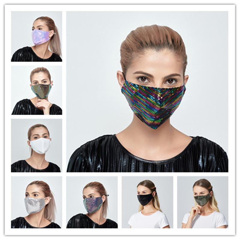 Luxo Máscara Sequins de protecção pode inserir filtro PM2.5 Dustproof Máscara Máscaras Boca lavável reutilizável Mulheres Rosto