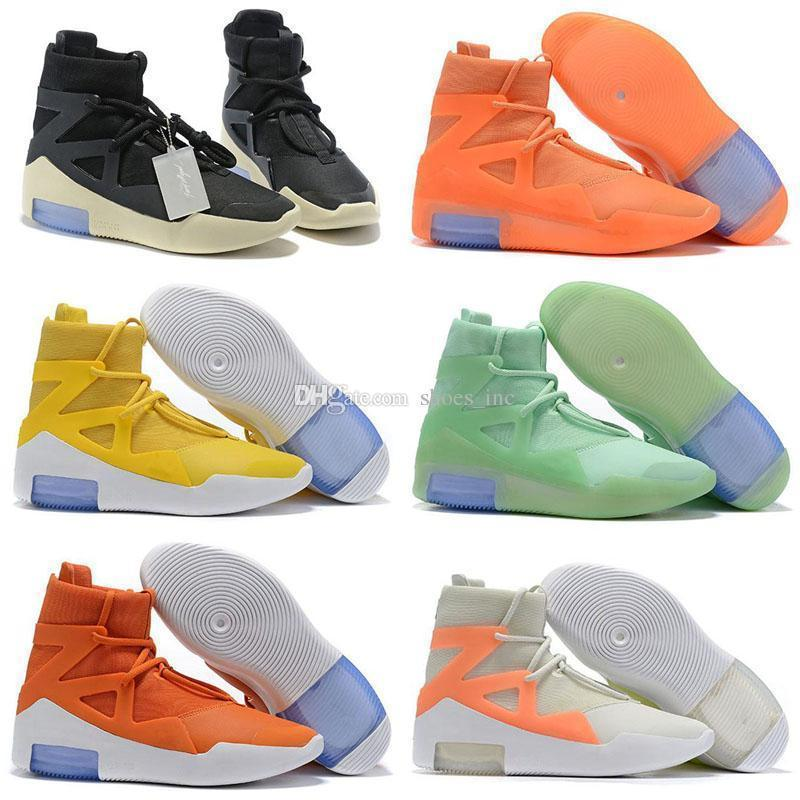 the What Fear of God x FOG Disparar alrededor de Light Bone Triple Black High Zapatillas de baloncesto Naranja Amarillo Moda con cremallera Zapatillas deportivas Size40-46