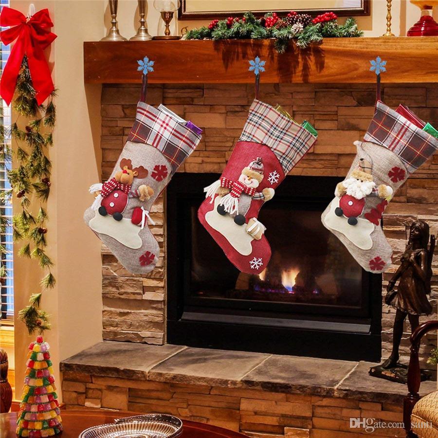 Weihnachtsstrumpf Sankt-Schneemann-Ren-Weihnachtsbaum-Dekor-Geschenk Beuter Weihnachtsdeko Partei hängendes Zubehör JK1910