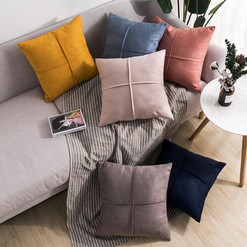 45x45cm 10 cores sólidas camurça sofá fronha caso cruz decorativo capa de almofada plissado almofada de volta para a tampa descanso de lance