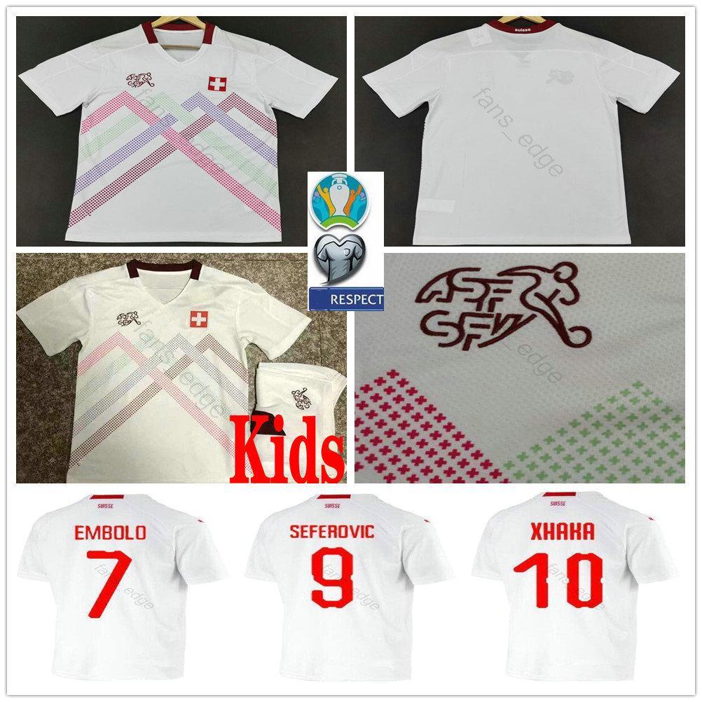 2020 سويسرا Soccer Jerseys 9 Seferovic 7 Embolo Shaqiri Behrami Freuler مخصص 19 20 سويسرية بعيدا أبيض الكبار أطفال الشباب قمصان كرة القدم