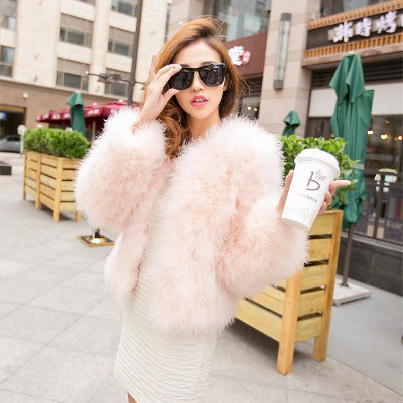 2020 Women Real Fur Coat Genuine Ostrich Feather Shrug Short Winter Jacket Natural Ostrich Fur Coats Female WYQ1671