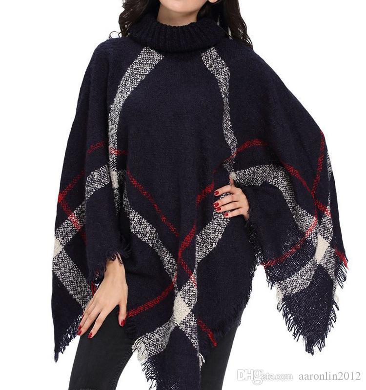 Novas Mulheres De Lã Xadrez CardiganTurtleneck Capa Batwing Manga Knit Poncho Femme tricô quente Xales Camisola moda cachecol