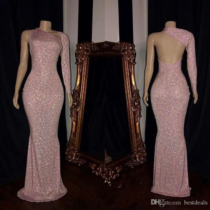 Sparkly Pink Sequined Mermaid Prom Dresses 2020 Sexy Backless Sweep Train Formal Evening Dress Women Party Gowns