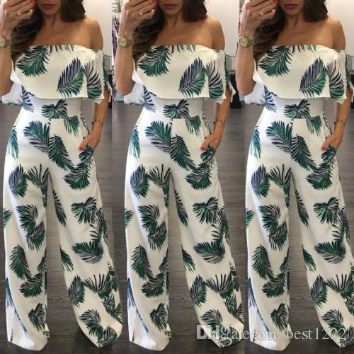 En gros de mode femmes d'été en vrac Beach Clubwear Combishort Imprimer épaule Long Jumpsuit Romper Pantalon Vente Chaude