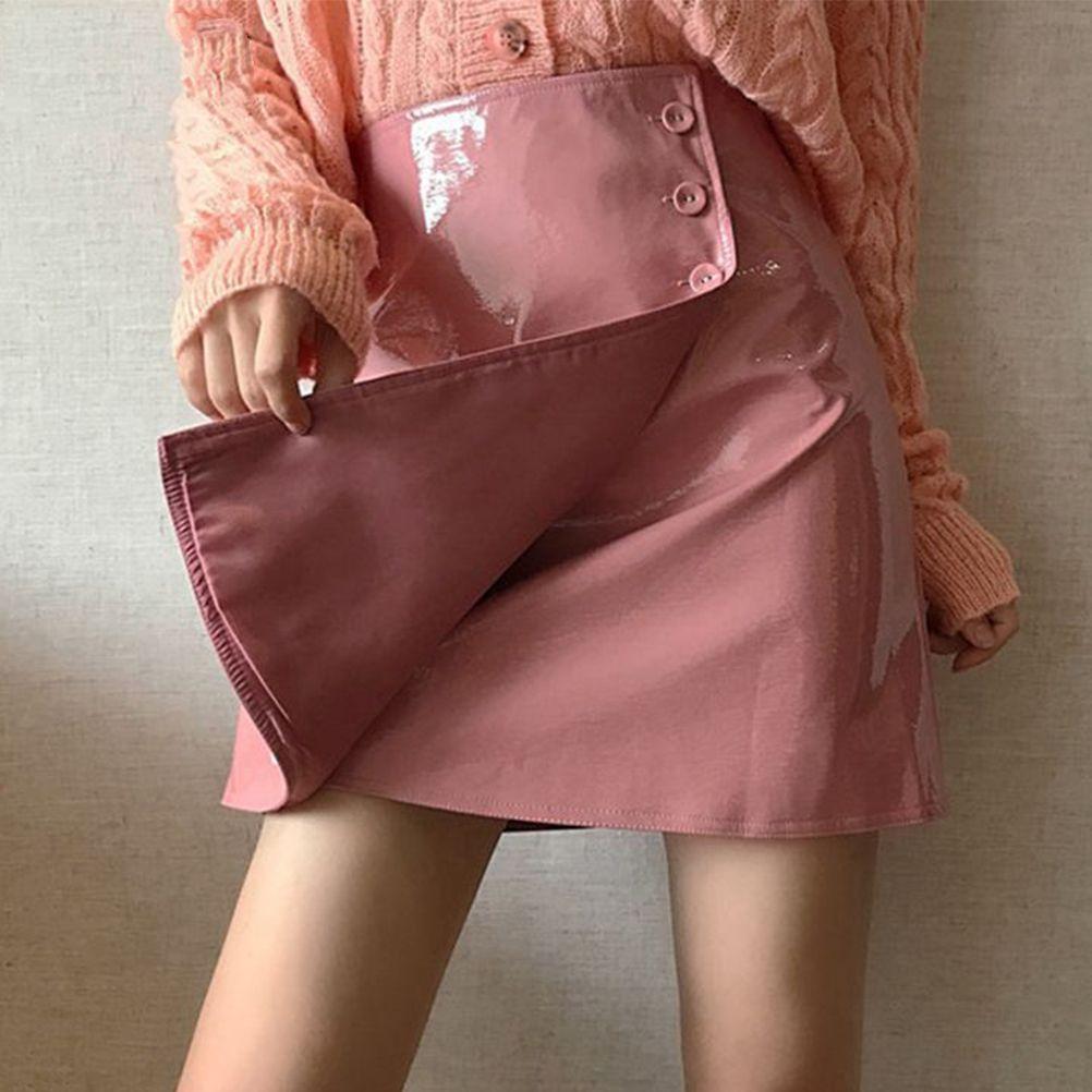 30a7496e61 2019 Patent Leather Skirts Women Buttons Smooth Surface Waterproof Shining  Fashion Harajuku Skirt From Yigu110, $29.53 | DHgate.Com
