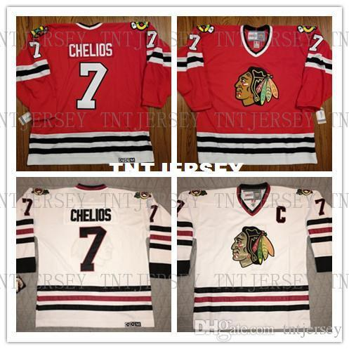 Cheap custom Chicago Blackhawks Chris Chelios Vintage CCM White Red Jersey #7 Mens Personalized stitching jerseys
