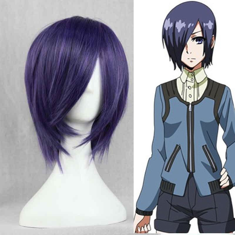 Anime Tokyo Ghoul Touka Kirishima Wig Kirishima Toka Short Purple Hair Halloween Party Cosplay Wigs + Wig Cap