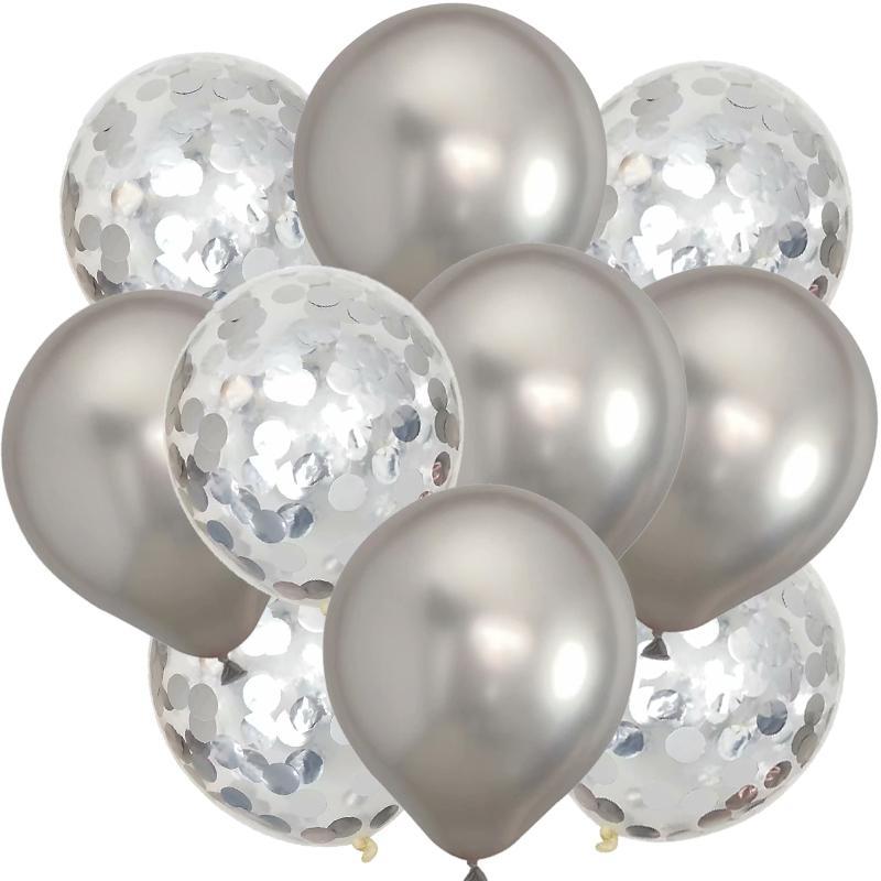Decoración de la boda 10pcs de oro rosa confeti de los globos Conjunto Chrome globo de la fiesta de cumpleaños deco aniversario de boda metálico globales