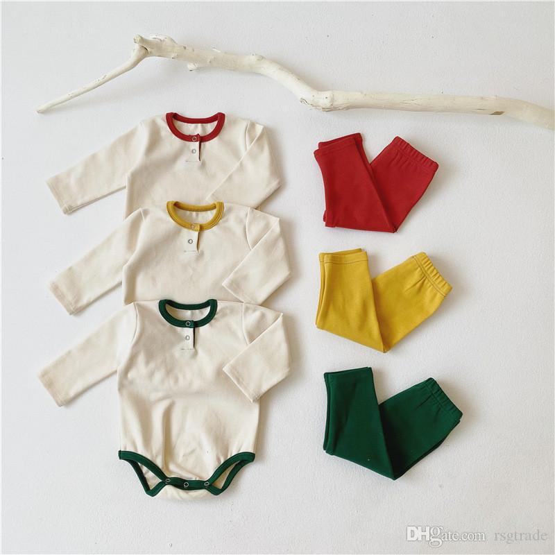 INS осень младенческой малышей дети мальчики девочки пижамы костюмы с длинным рукавом комбинезон + Брюки 2 шт довольно мягкий хлопок качество Детская одежда наряды