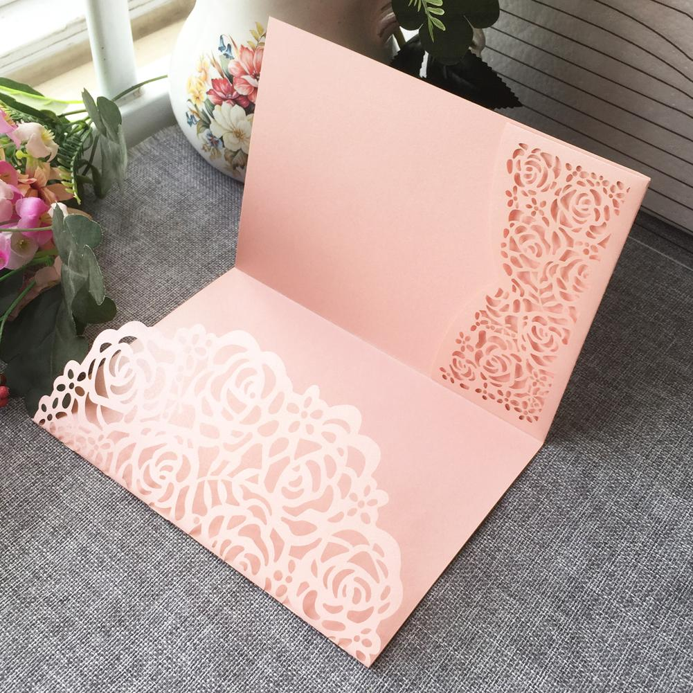 Hollow Laser Cut Nice Flowers Wedding Invitation Card With Pearl Paper For Wedding Invitation Cards Birthday Party Thanks Card