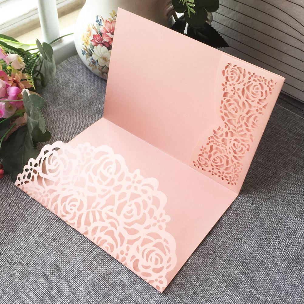 Hohler Laser-Schnitt Nizza Blumen, die Einladung Karte mit Perlen-Papier für Wedding Einladungs-Karten-Geburtstags-Party dankt Karte