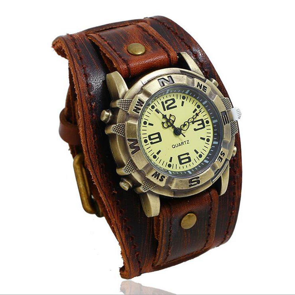 Vintage Retro Grand Large en cuir véritable bracelet Montre Homme Quartz Punk manchette Montres-bracelets Bracelet relogio masculino