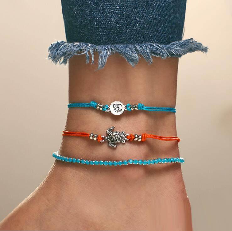 Nuovo arrivo europee e americane moda Tortoise Tri-strato del piede decorazioni Rune String braccialetto del CALZINO