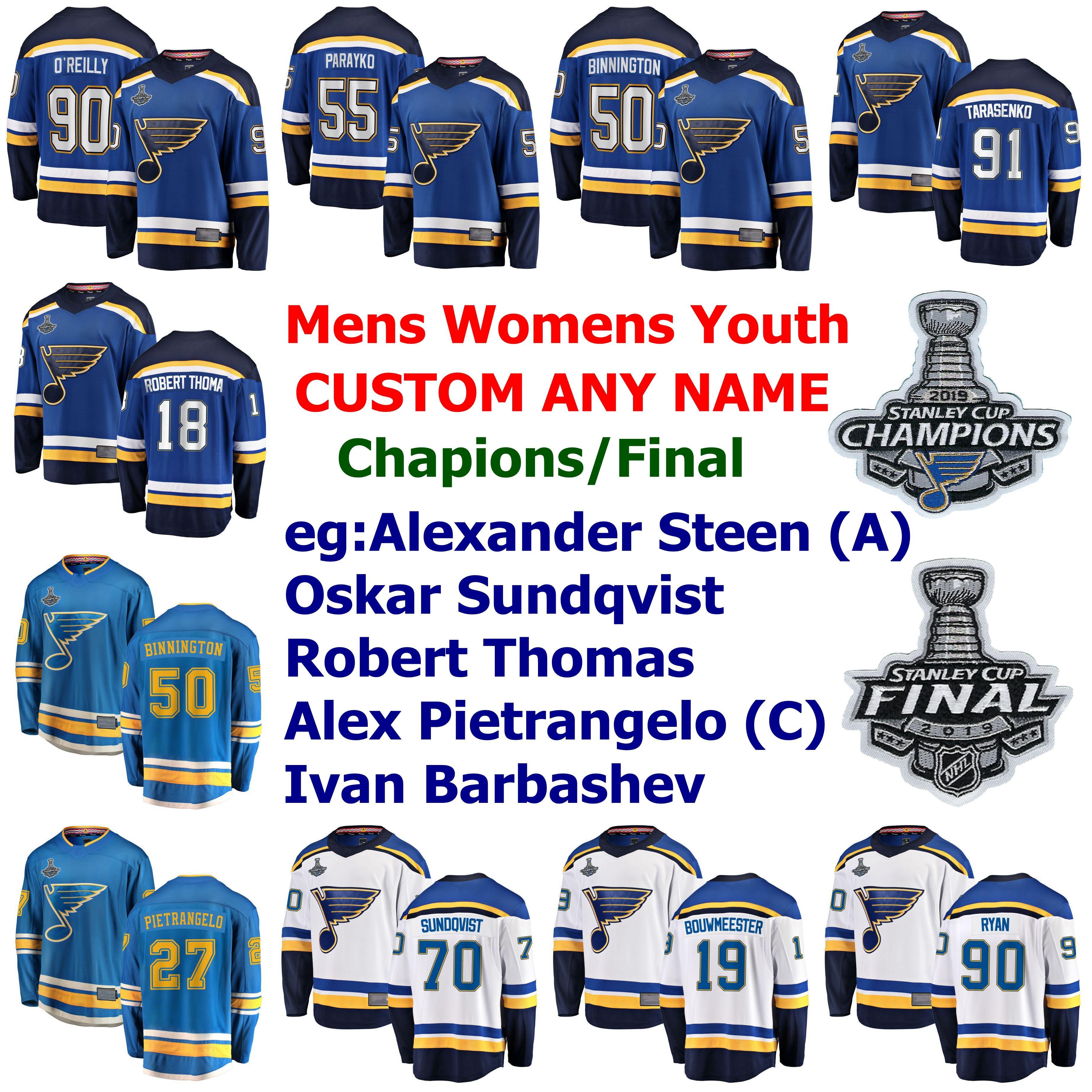 2019 Stanley Cup Şampiyonlar St Louis Blues Hokey Formalar Tarasenko Jersey Ryan O'Reilly Binnington Parayko Alex Pietrangelo Özel Dikişli
