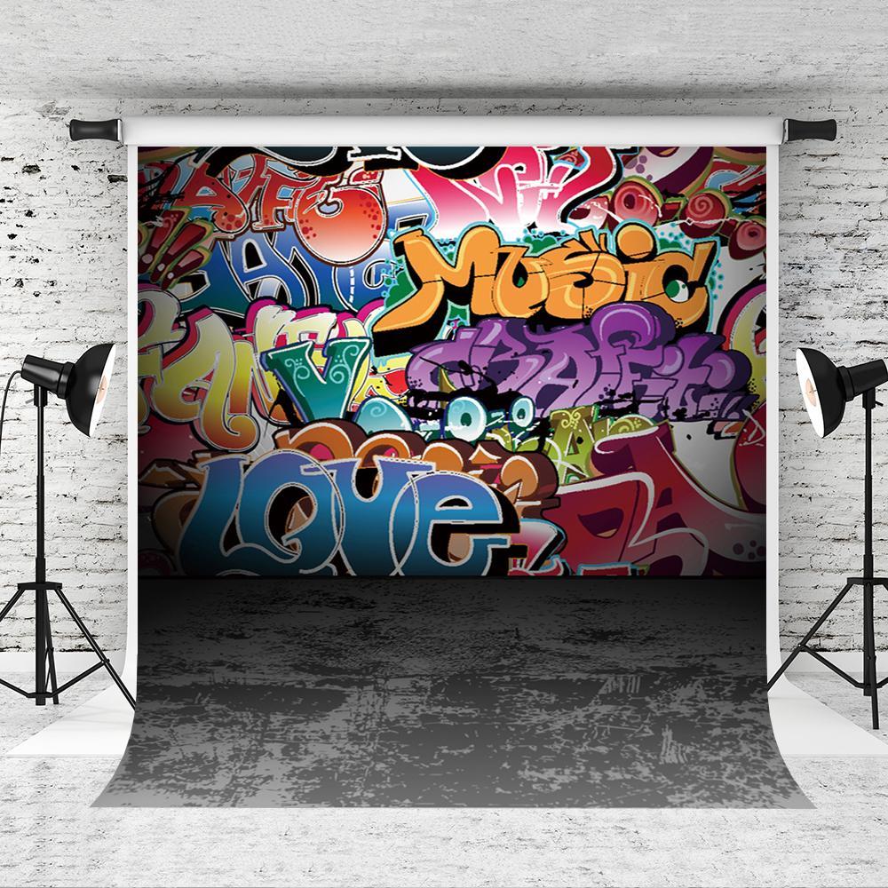 Rüya 5x7ft Renkli Graffiti Duvar Backdrop Hiphop Sokak Sanat Fotoğraf Arka Plan Bebek Portresi Fotoğraf Gri Zemin Backdrop Studio Prop