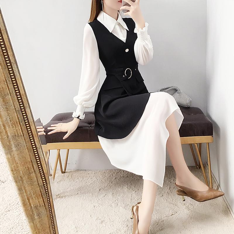 2020 Primavera Outono Womens simples elegante vestido Two Piece Set Feminino Puff luva do vestido do terno + Magro Vest Moda R136