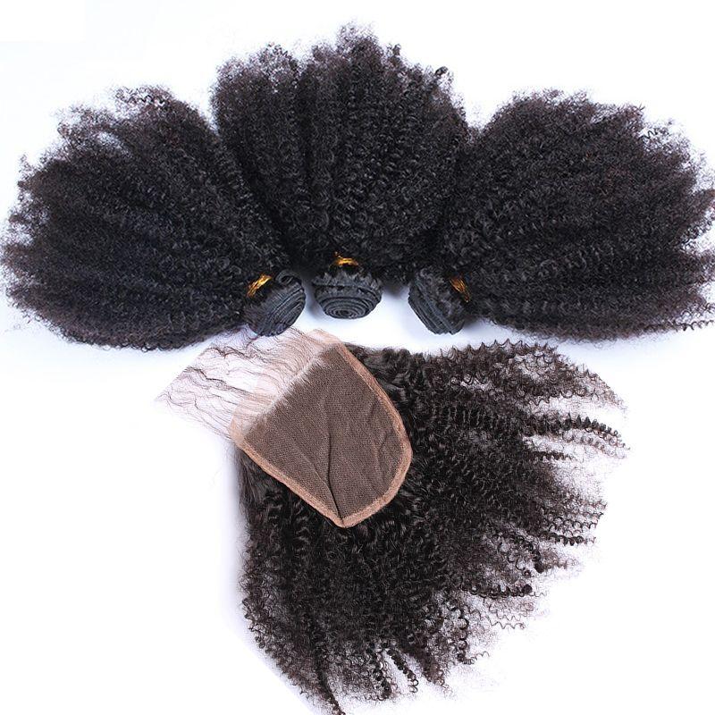 Afro crespo ricci umani fasci di capelli con chiusura brasiliana vergine dei capelli del tessuto 3 pacchi con Pizzo Chiusura 4pcs colore naturale del terreno può essere tinto