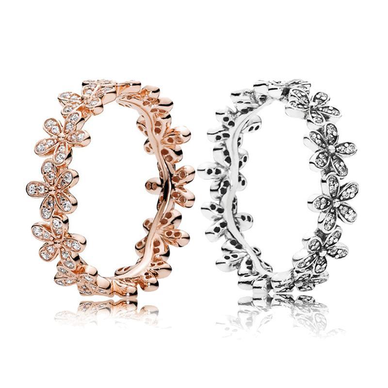 Reale 925 Sterlingsilber-Gänseblümchen-Wiese stapelbare Ringe mit ursprünglichem Kasten für Pandora Luxuxschmucksachen Designer Frauen Hochzeit Rromise Ring Set