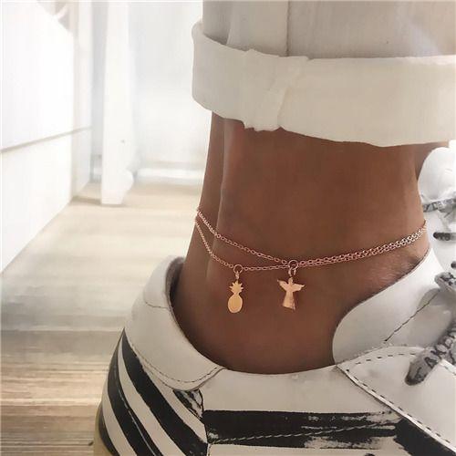2018 Hot Women Trendy Retro Bohemian Anklets For Women Gold Color Pineapple Ankle Charm Bracelets Female Beach Accessories ALXY E0024