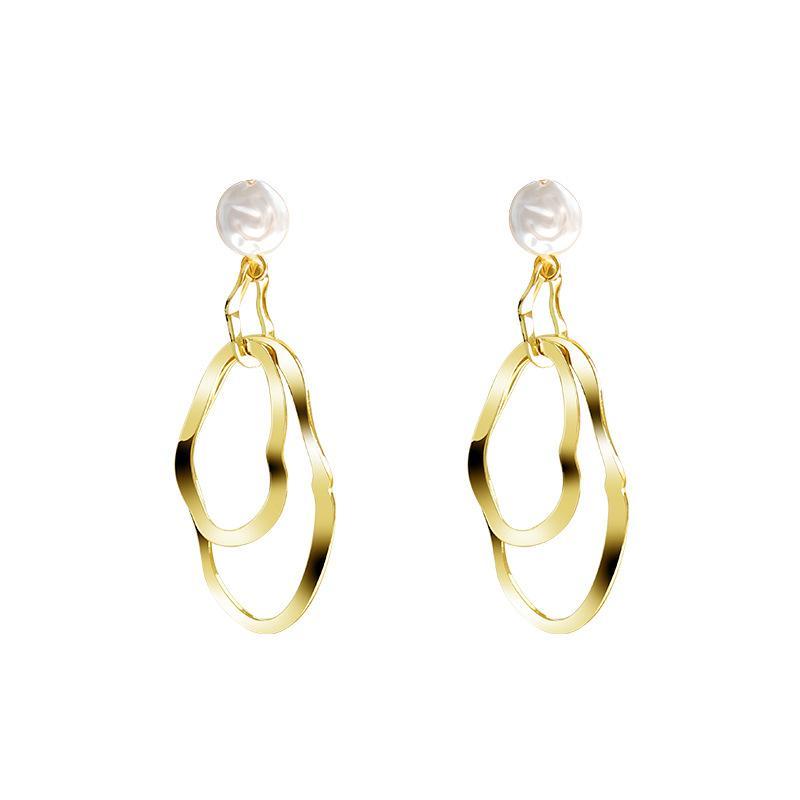 2020 New Woman S925 dell'ago d'argento di colore Bianco orecchino di perla di Shell irregolare metallo geometrica orecchino dei monili per il partito regalo monili all'ingrosso
