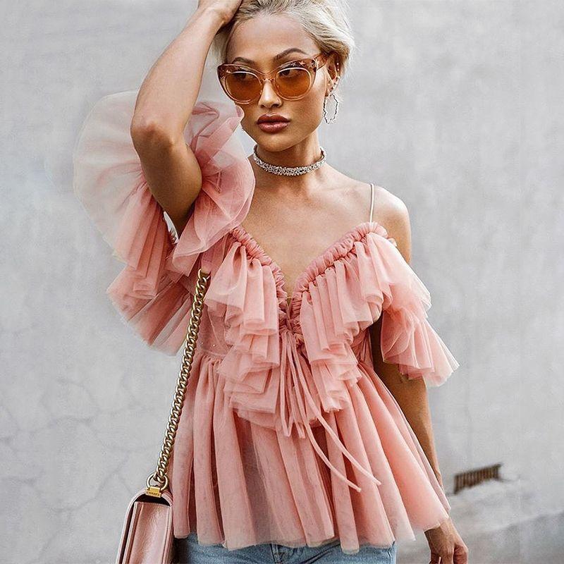 النساء خمر كشكش الصيف المرأة بلوزة قميص أعلى قبالة الكتف مثير peplum أعلى أنثى شبكة عارية الذراعين المؤنث بلوزة blusas