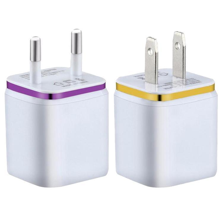 100pcs Hot 2.1A Metal Dual USB Wall Charging Charger US EU Plug AC Power Adapter Wall Charger Plug 2 Port For Iphone Samsung Galaxy Table