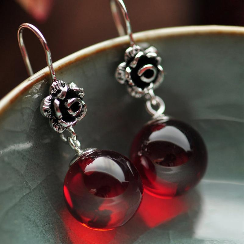 Real 925 Sterling Silver Jewelry Natural Stone Earrings For Women Red Garnet And White Opal Retro Beautiful Rose Flower Carved Y19062703